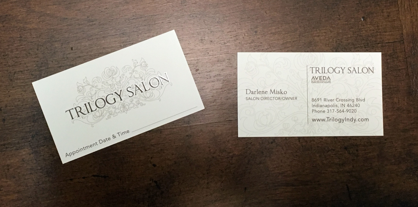 Trilogy Salon Business Cards