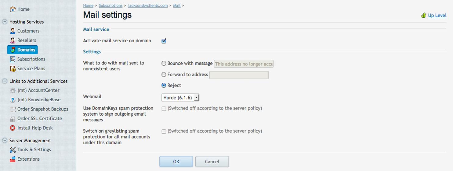 Local Emails, Name Servers & Mail Server Configuration   Jackson Sky
